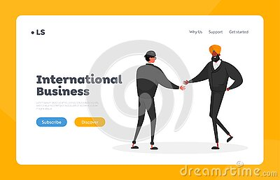 Business Partners Agreement Landing Page Template. Asian and Indian Characters Partnership, Deal. Businesspeople Meeting