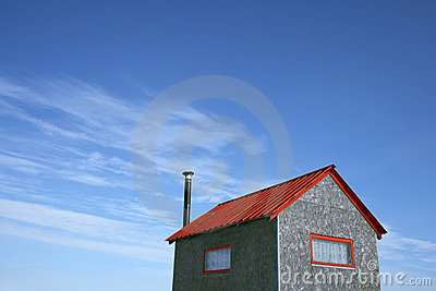 Little house and the blue sky