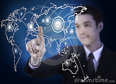 Business man with world map graphic screen