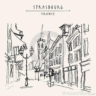 Strasbourg, France, Europe. Pedestrian street in old historic town. French architecture. Hand drawing. Travel sketch. Vintage