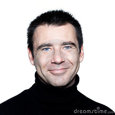 Handsome caucasian man blue eyes smiling portrait