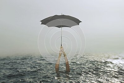 Person clinging to an umbrella in the middle of the ocean tries to save his life, concept of success and failure