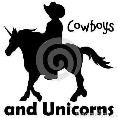Cowboy Child Riding Unicorn Silhouette Illustration on White with Clipping Path