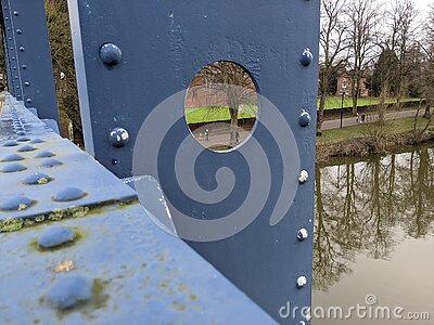 A close up view of kingsland bridge in Shrewsbury overlooking the river Severn