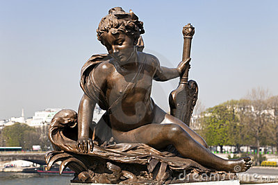 Sculpture. Bridge of Alexander III in Paris.
