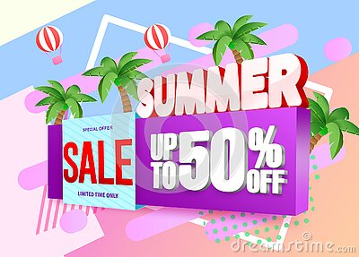 Summer 3d vector banner design. Summer 3d text with tropical elements like palm tree, hot air balloon and umbrella in orange.