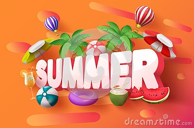 Summer 3d vector banner design. Summer 3d text with tropical elements like palm tree, hot air balloon and umbrella.