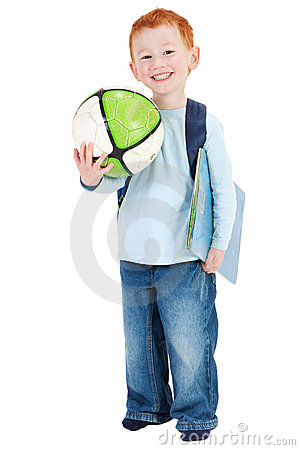 Happy smiling boy child with school bag book ball