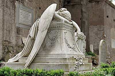 Grave stone - Angel of Grief - landmark attraction in Rome, Italy. Funerary monument