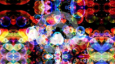 Reflection dark abstract dimension rainbow bubbles with dancing hearts floating