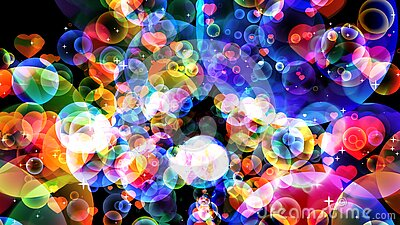Abstract dimension rainbow bubbles with dancing hearts floating on black screen with white star theme valentine day