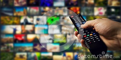 tv channels in background and remote control in hand. smart television and content on demand