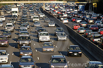 Heavy traffic jam during rush hour in Los Angeles, California
