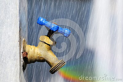 Brass water end of line valve with artificial rain and rainbow