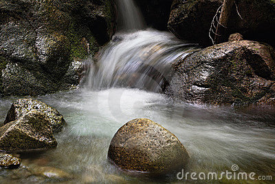 Running water of a mountain stream