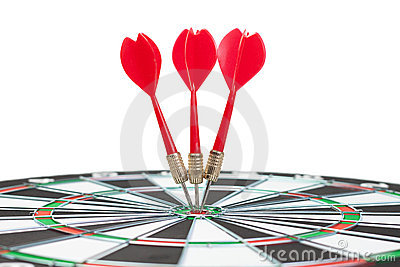 Three darts hit dead centre of target