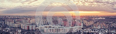 Urban skyline with residential district large aerial panoramic view in Saint Peterburg