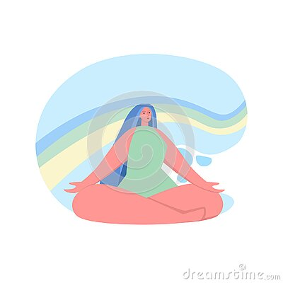 Happy woman sits in lotus pose and open her arms to the rainbow. Smiled girl creates good vibe around her. Smiling