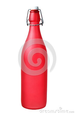 Red glass bottle with metal cap