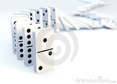 Row of dominoes collapsing