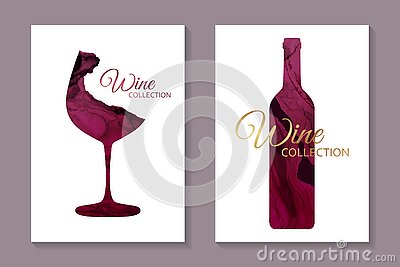 Card templates for wine tasting invitation or poster or banner or presentation with red glass and bottle in