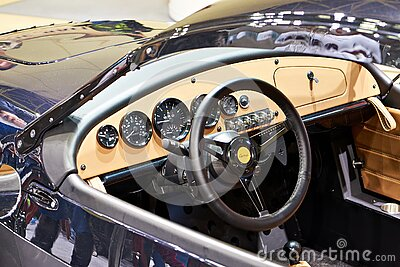 Moscow, RUSSIA - APRIL 02, 2021: Custom car dashboard on exhibition MOTOVESNA-2021