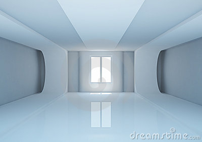 empty wide room with futuristic construction