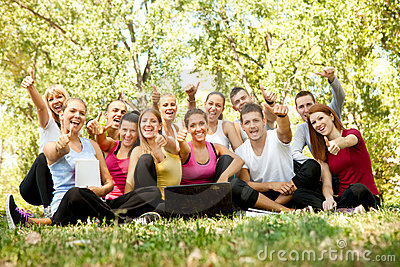 Happy students in park
