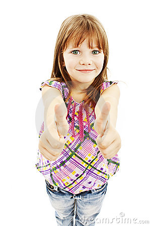 A young girl showing thumbs up with both hands