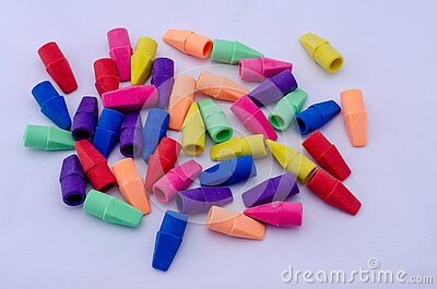 Colorful rubber pencil erasers on a white background