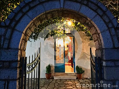 Arched Entrance to Small Greek Orthodox Church at Night, Greece