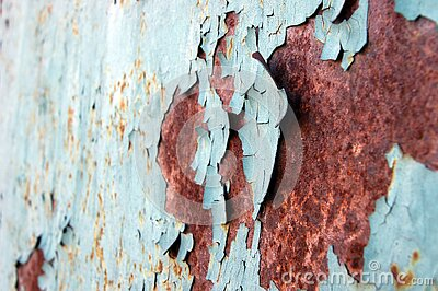 Light blue rust metal decayed crumpled sheet wide background.