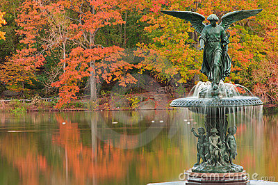 Fall colors at Bethesda Fountain in Central Park.