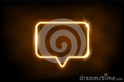 Glowing gold neon speech bubble sign. Electric light rectangle frame isolated on dark background with fog. Vector yellow