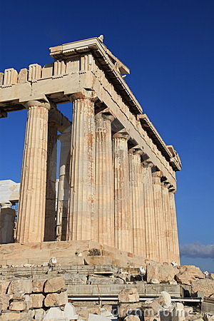 Columns at Parthenon in Athens Greece