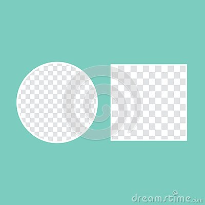 circular shaped hole on transparent background with frame for text green background