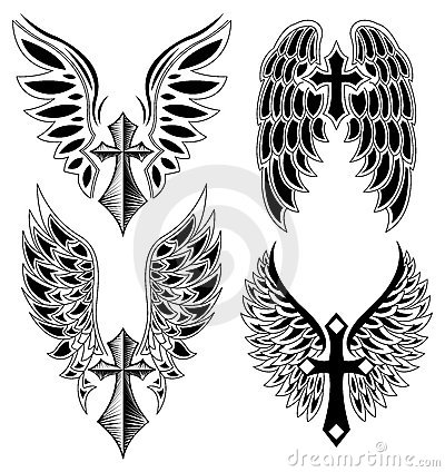 Set of cross and wings - tattoo - elements -vector