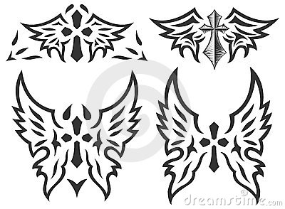Set Of Cross And Wings Tattoo Vector