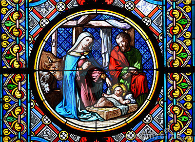 Nativity Scene. Stained glass