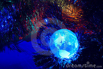 Earth globe America with Christmas background blue