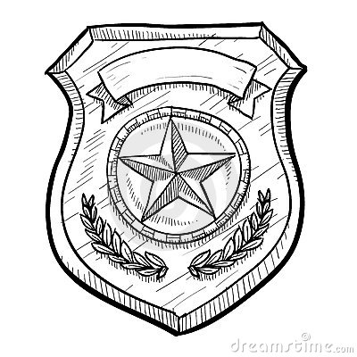Police or security badge sketch