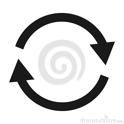 Clockwise high quality loop icon. Vector illustration of two round arrows symbol isolated on white