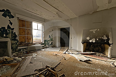 Inside view of an abandoned house