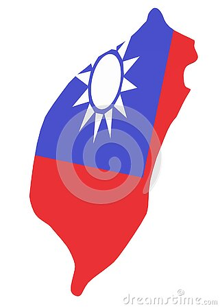 The outline shape of the country of Taiwan with her flag wrapped around it white backdrop