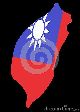 The outline shape of the country of Taiwan with her flag wrapped around it black backdrop