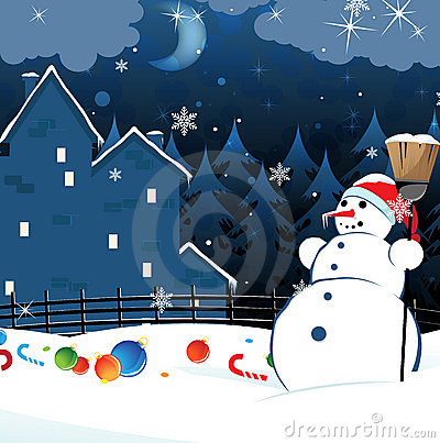 Snowman and scattered Christmas decorations