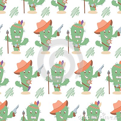Funny western seamless cactus pattern. Sheriff and indian cactus characters. Suitable for pastel linen, home decor, textiles