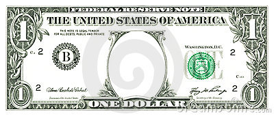 One dollar bill with a hole