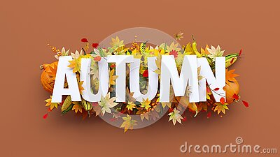 Autumn white text with pumpkins, corn and colorful leaves on brown background