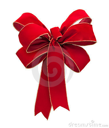 Red Velvet Bow isolated on white